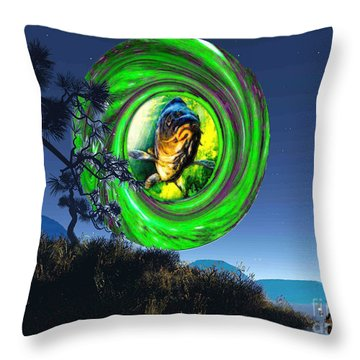 Fish Too Big For Cormorant Throw Pillow