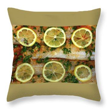 Throw Pillow featuring the photograph Fish With Lemon And Coriander By Kaye Menner by Kaye Menner