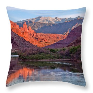 Fisher Towers Sunset Reflection Throw Pillow