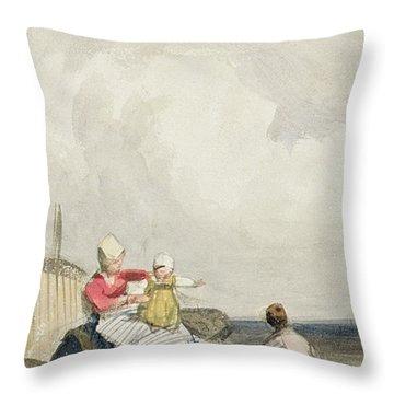 Fisherfolk On The Beach Throw Pillow