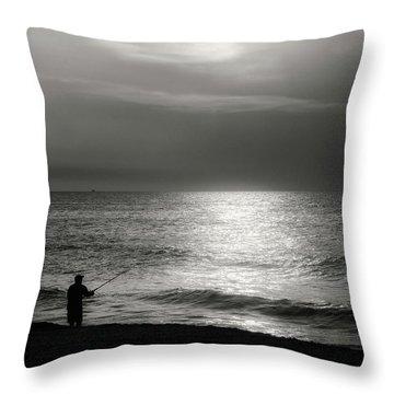 Fisherman At The Beach Throw Pillow