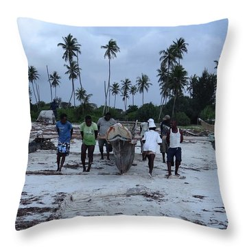 Fisherman Heading In From Their Days Catch At Sea With A Wooden Dhow Throw Pillow