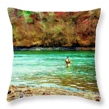 Throw Pillow featuring the photograph Fisherman Hot Springs Ar In Oil by Diana Mary Sharpton
