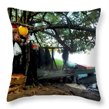 Fishing In Moorea Throw Pillow