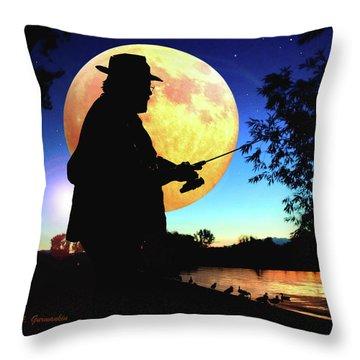 Fisherman In The Moolight Throw Pillow