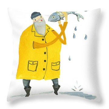 Throw Pillow featuring the painting Fisherman by Leanne WILKES