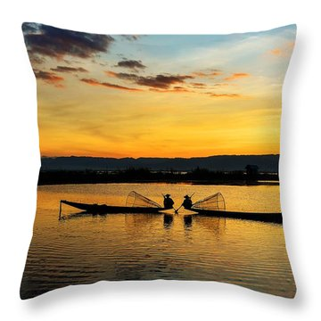 Throw Pillow featuring the photograph Fisherman On Their Boat by Pradeep Raja Prints