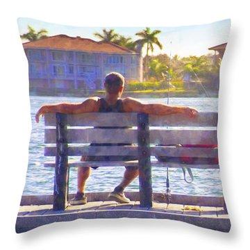 Fisherman Pass A Grille Florida Throw Pillow