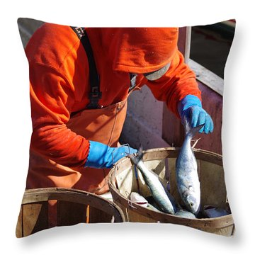 Fisherman Sorting His Catch Throw Pillow