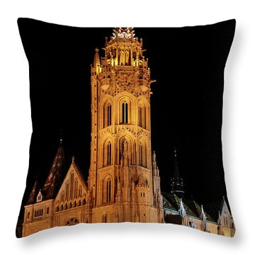 Throw Pillow featuring the digital art  Fishermans Bastion - Budapest by Pat Speirs