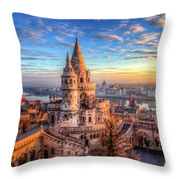 Fisherman's Bastion In Budapest Throw Pillow by Shawn Everhart