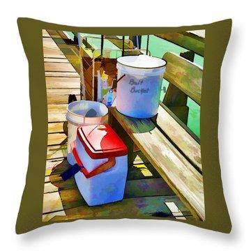 Fisherman's Buckets Throw Pillow by Rena Trepanier