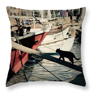 Fisherman's Cat  Throw Pillow by Louise Fahy