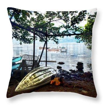 Fisherman's Cove In Moorea Throw Pillow