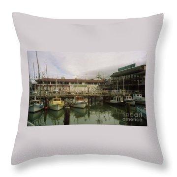 Fishermans Wharf Boats Throw Pillow