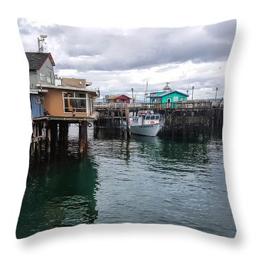 Throw Pillow featuring the photograph Fisherman's Wharf Monterey II by Gina Savage