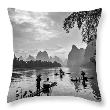 Fishermen At Dawn. Throw Pillow