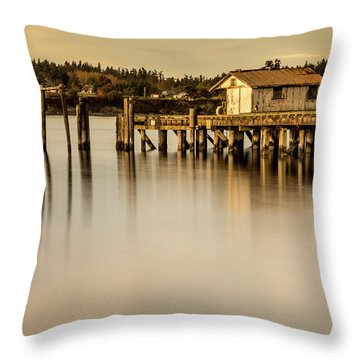 Fishermen Fuel Dock Throw Pillow