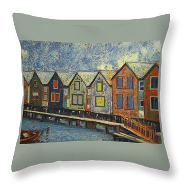 Throw Pillow featuring the painting Fishermen Huts by Walter Casaravilla