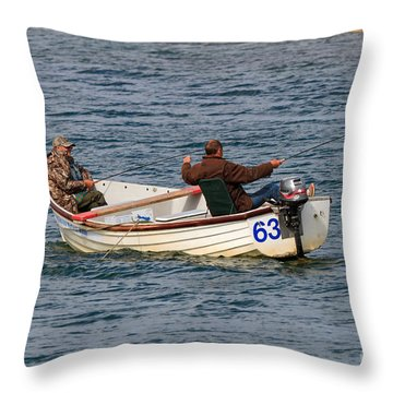 Fishermen In A Boat Throw Pillow by Louise Heusinkveld