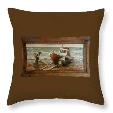 Fishermen S Evening Throw Pillow by Natalia Tejera