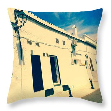 Fishermens' Cottages In Cuitadella Throw Pillow