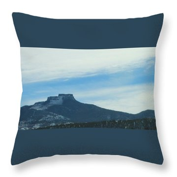 Fishers Peak Raton Mesa In Snow Throw Pillow
