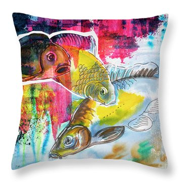 Fishes In Water, Original Painting Throw Pillow