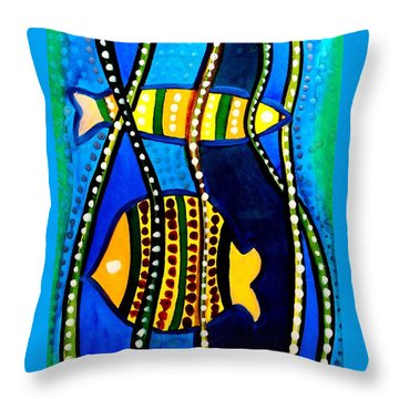 Throw Pillow featuring the painting Fishes With Seaweed - Art By Dora Hathazi Mendes by Dora Hathazi Mendes