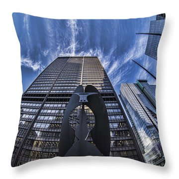 Fisheye View Of Chicago's Picasso Throw Pillow