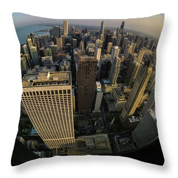 Fisheye View Of Dowtown Chicago From Above  Throw Pillow