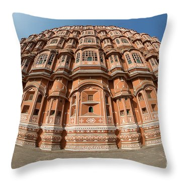 Throw Pillow featuring the photograph Fisheye View Of Hawa Mahal by Yew Kwang