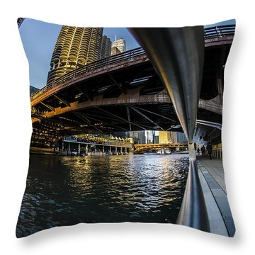 Fisheye View From The Chicago Riverwalk Throw Pillow