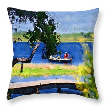 Throw Pillow featuring the photograph Fishin by Donna Bentley