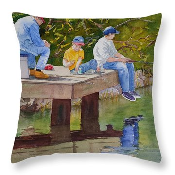 Throw Pillow featuring the painting Fishin' by Judy Mercer