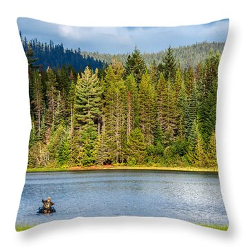 Fishing Alone Throw Pillow