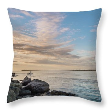 Fishing Along The South Jetty Throw Pillow by Greg Nyquist