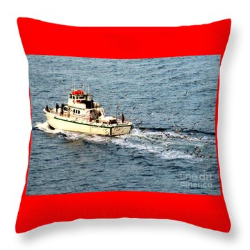 Throw Pillow featuring the photograph Fishing And Seagulls by Randall Weidner