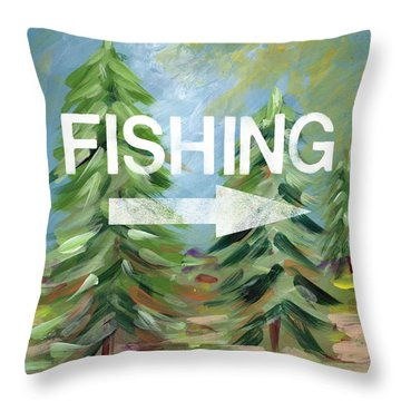 Fishing- Art By Linda Woods Throw Pillow