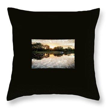 Fishing At Dawn Throw Pillow