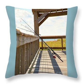 Fishing At Shem Creek Throw Pillow