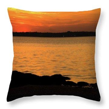 Fishing At Sunset Throw Pillow by Karol Livote
