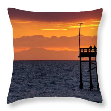 Throw Pillow featuring the photograph Fishing At Sunset by Quality HDR Photography