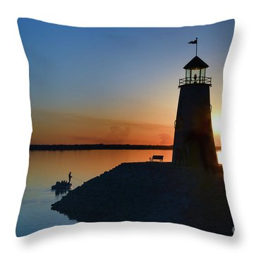 Fishing At The Lighthouse Throw Pillow