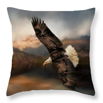 Fishing At The Mount Throw Pillow
