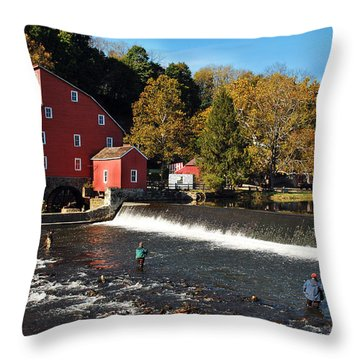 Fishing At The Old Mill Throw Pillow