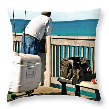 Fishing At The Pier Throw Pillow