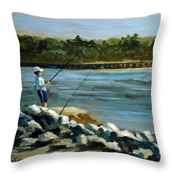 Throw Pillow featuring the painting Fishing At The Point by Suzanne McKee