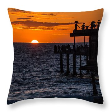 Fishing At Twilight Throw Pillow