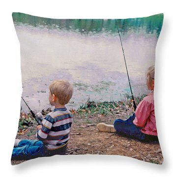 Fishing At Watkins Mill Throw Pillow by Steve Karol